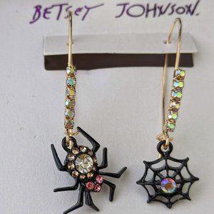 NWT Betsey Johnson Halloween Black Web Ear…